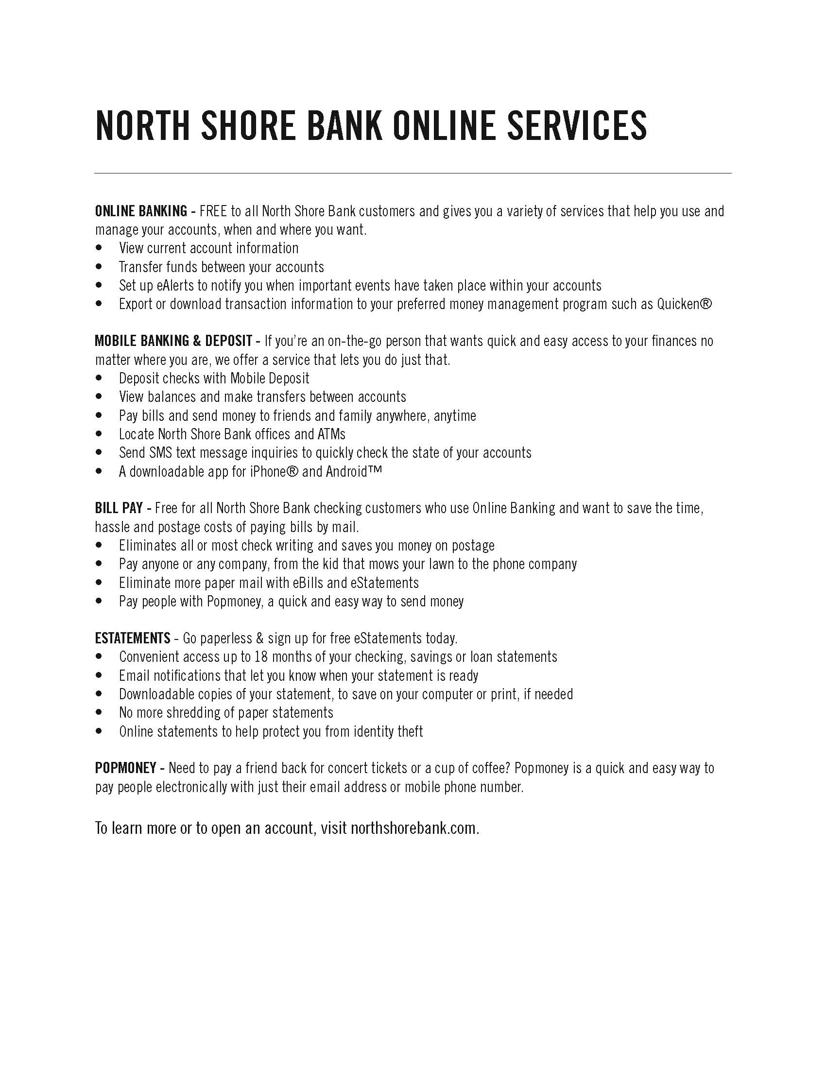 Online Services | North Shore Bank