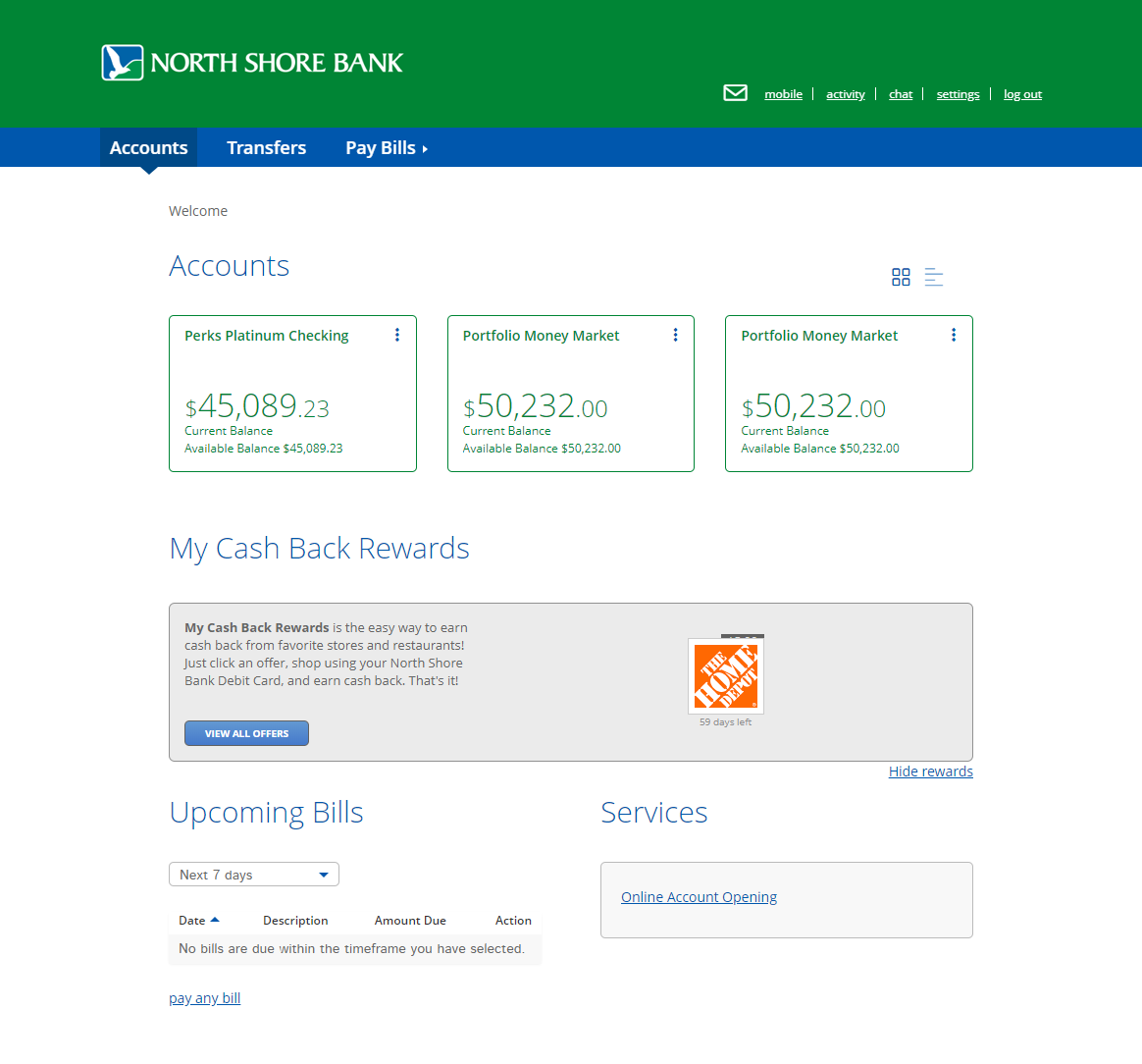 North Shore Bank Personal Online Banking