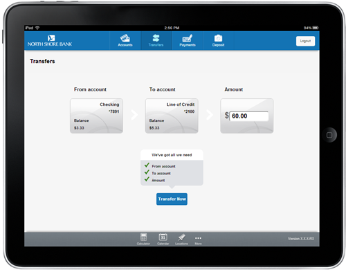 North Shore Bank Mobile Banking for iPad